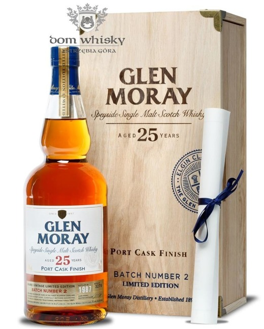 Glen Moray 25-letni Batch # 2, Port Cask Finish (D.1987)43%/0,7l