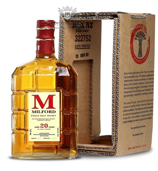 Milford 20 letni Limited Edition (Nowa Zelandia) / 43% / 0,75l
